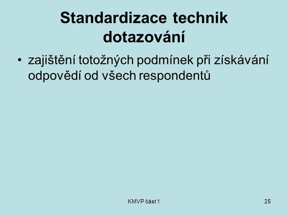 KMVP část 125 Standardizace technik dotazování zajištění totožných podmínek při získávání odpovědí od všech respondentů