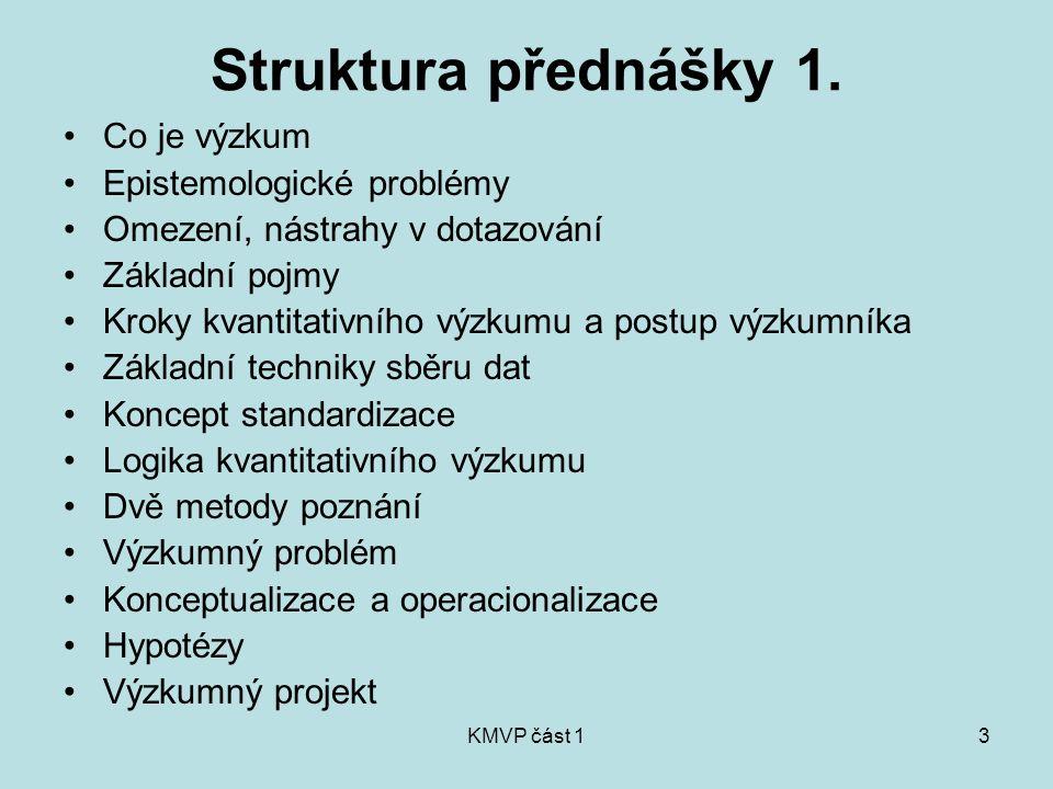 KMVP část 13 Struktura přednášky 1. Co je výzkum Epistemologické problémy Omezení, nástrahy v dotazování Základní pojmy Kroky kvantitativního výzkumu