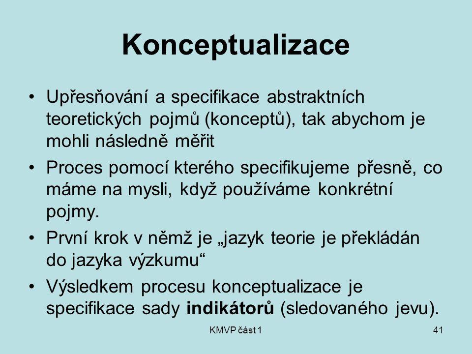 KMVP část 141 Konceptualizace Upřesňování a specifikace abstraktních teoretických pojmů (konceptů), tak abychom je mohli následně měřit Proces pomocí