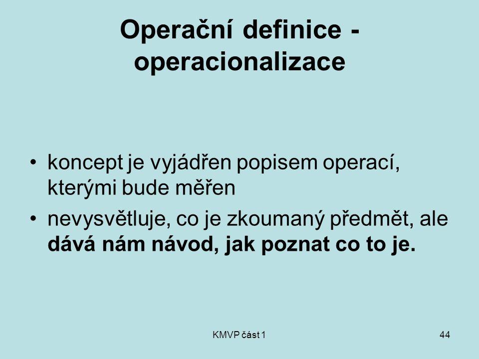 KMVP část 144 Operační definice - operacionalizace koncept je vyjádřen popisem operací, kterými bude měřen nevysvětluje, co je zkoumaný předmět, ale d