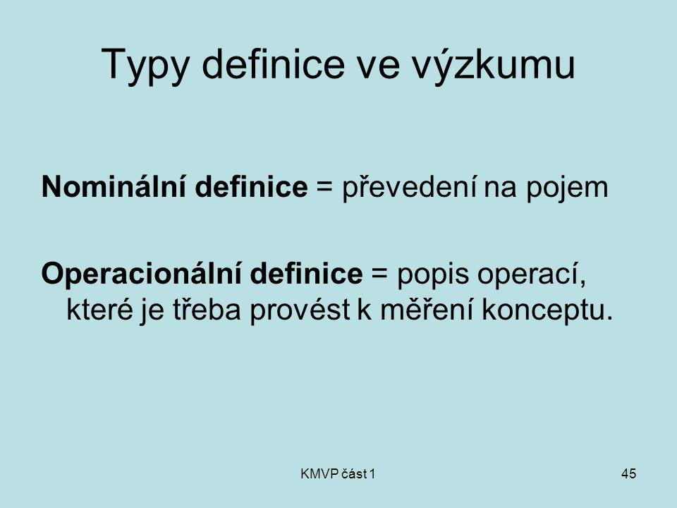 KMVP část 145 Typy definice ve výzkumu Nominální definice = převedení na pojem Operacionální definice = popis operací, které je třeba provést k měření