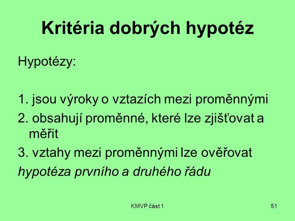 KMVP část 151 Kritéria dobrých hypotéz Hypotézy: 1. jsou výroky o vztazích mezi proměnnými 2. obsahují proměnné, které lze zjišťovat a měřit 3. vztahy