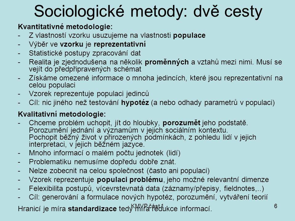 KMVP část 16 Sociologické metody: dvě cesty Kvantitativné metodologie: -Z vlastností vzorku usuzujeme na vlastnosti populace -Výběr ve vzorku je repre