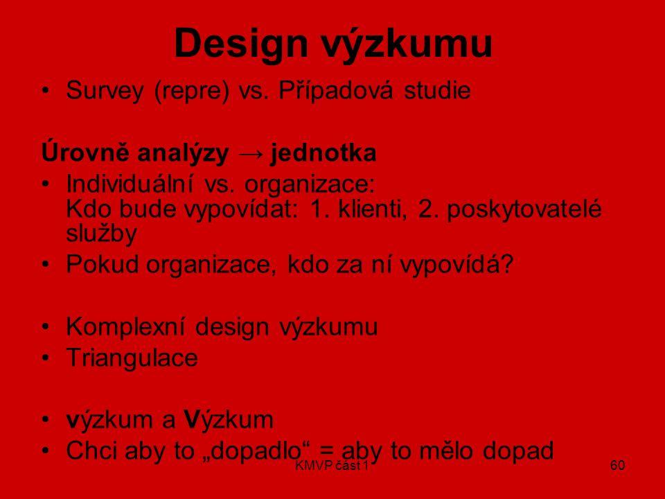 KMVP část 160 Design výzkumu Survey (repre) vs. Případová studie Úrovně analýzy → jednotka Individuální vs. organizace: Kdo bude vypovídat: 1. klienti