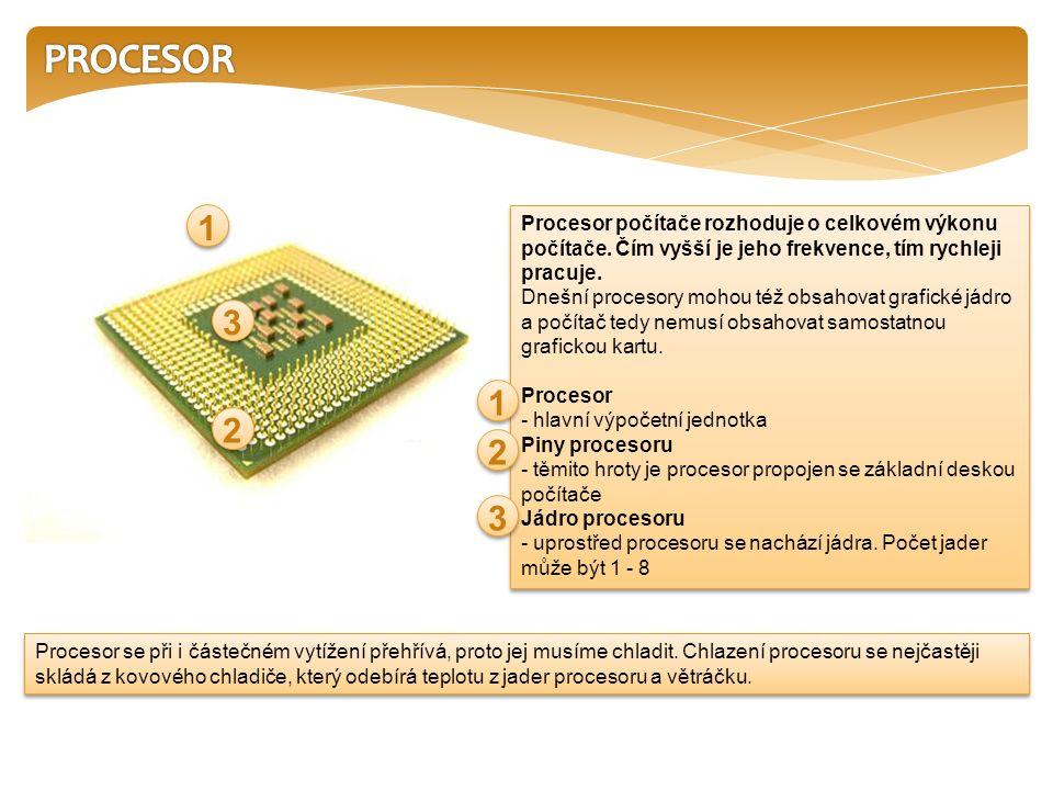 Poznámka: Na trhu existuje mnoho variant procesorů, významní výrobci jsou: Intel a AMD.