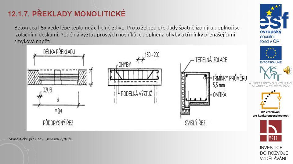 12.1.7. PŘEKLADY MONOLITICKÉ Monolitické překlady lze navrhovat pro jakoukoliv tloušťku stěn, libovolné rozpětí a zatížení jako: Prostý nosník (nad 1