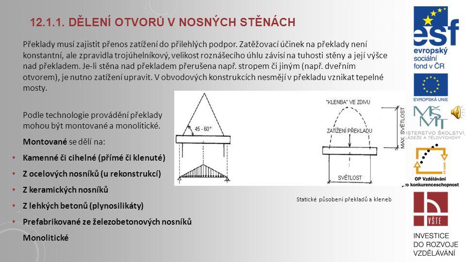 12.1.1. DĚLENÍ OTVORŮ V NOSNÝCH STĚNÁCH Požadavky na překlady: Statické - přenos zatížení do podpor Skladebné - rozměry musí odpovídat skladebným rozm