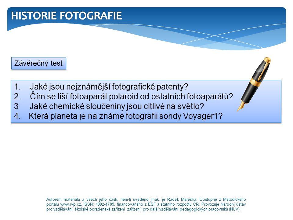 1. Jaké jsou nejznámější fotografické patenty. 2.