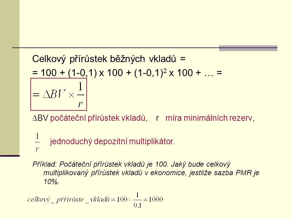 Celkový přírůstek běžných vkladů = = 100 + (1-0,1) x 100 + (1-0,1) 2 x 100 + … = ∆BV počáteční přírůstek vkladů, r míra minimálních rezerv, jednoduchý