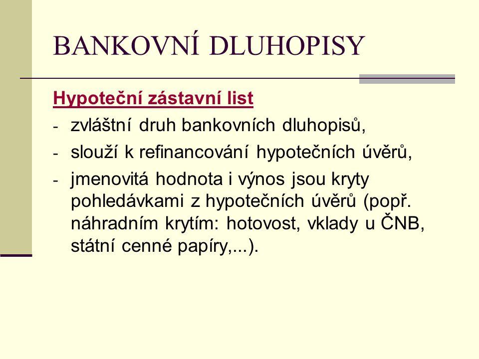 BANKOVNÍ DLUHOPISY Hypoteční zástavní list - zvláštní druh bankovních dluhopisů, - slouží k refinancování hypotečních úvěrů, - jmenovitá hodnota i výn