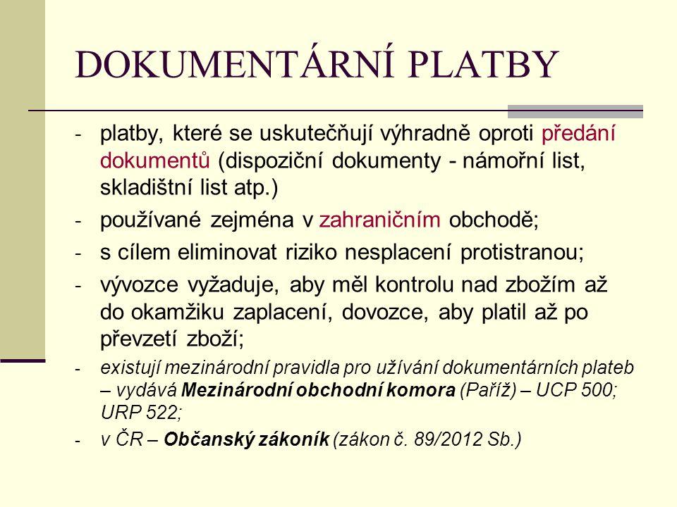 DOKUMENTÁRNÍ PLATBY - platby, které se uskutečňují výhradně oproti předání dokumentů (dispoziční dokumenty - námořní list, skladištní list atp.) - pou