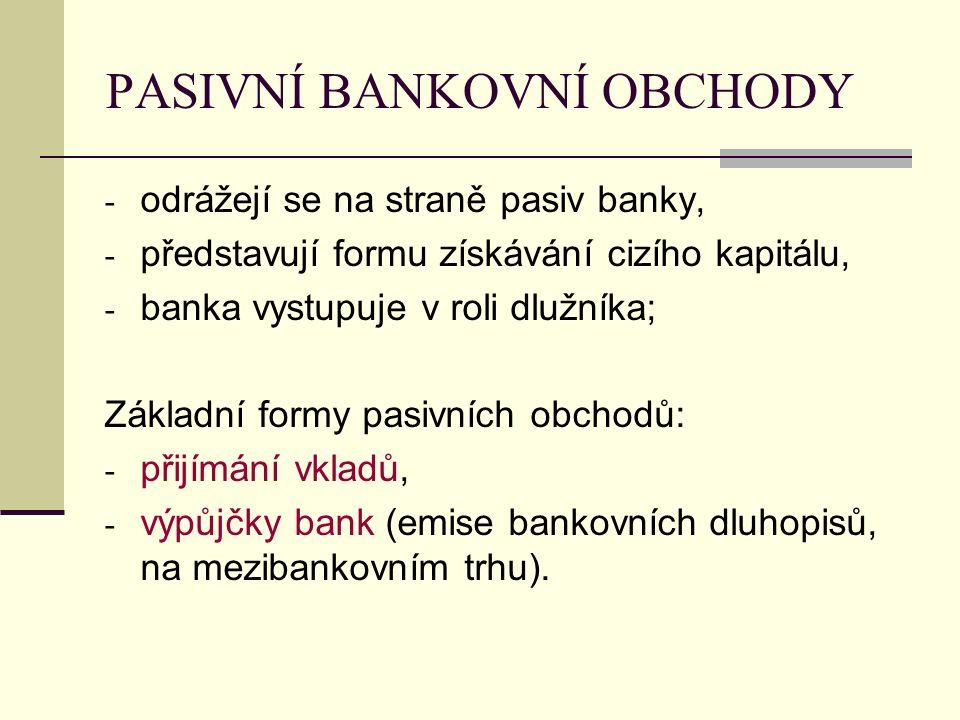PASIVNÍ BANKOVNÍ OBCHODY - odrážejí se na straně pasiv banky, - představují formu získávání cizího kapitálu, - banka vystupuje v roli dlužníka; Základ
