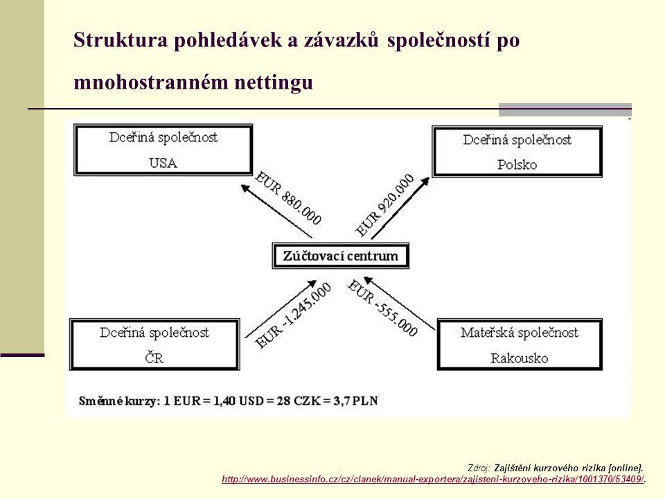Struktura pohledávek a závazků společností po mnohostranném nettingu Zdroj: Zajištění kurzového rizika [online]. http://www.businessinfo.cz/cz/clanek/