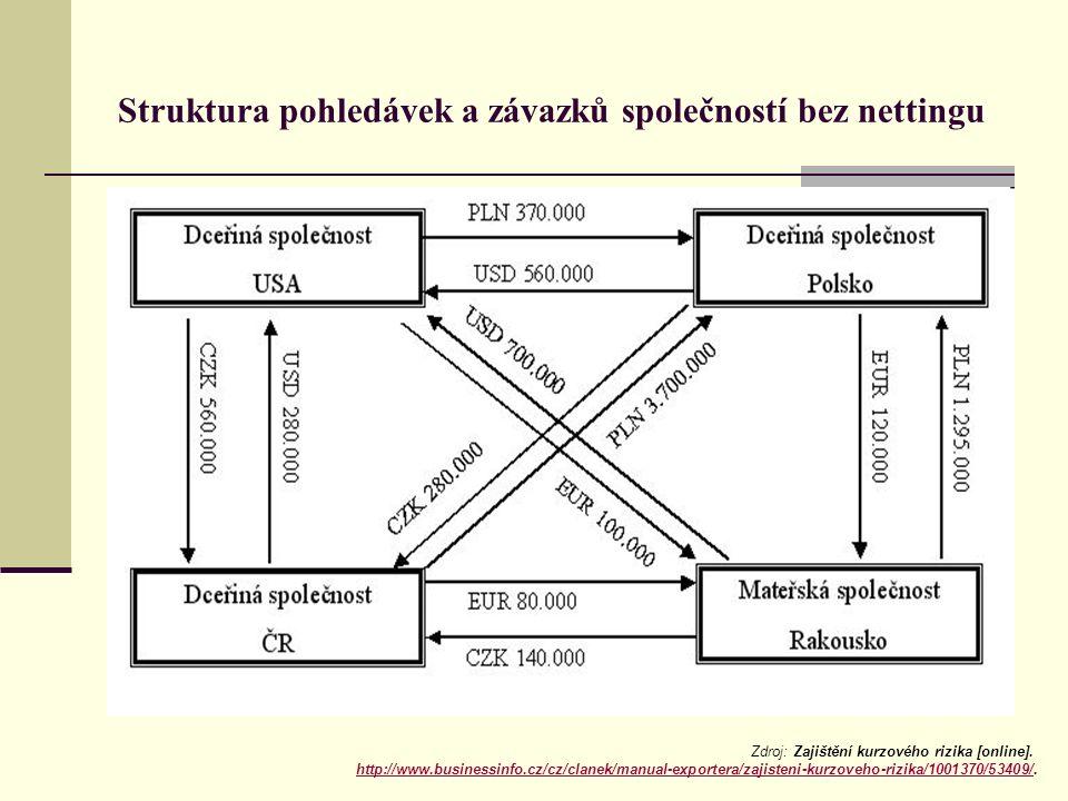 Struktura pohledávek a závazků společností bez nettingu Zdroj: Zajištění kurzového rizika [online]. http://www.businessinfo.cz/cz/clanek/manual-export