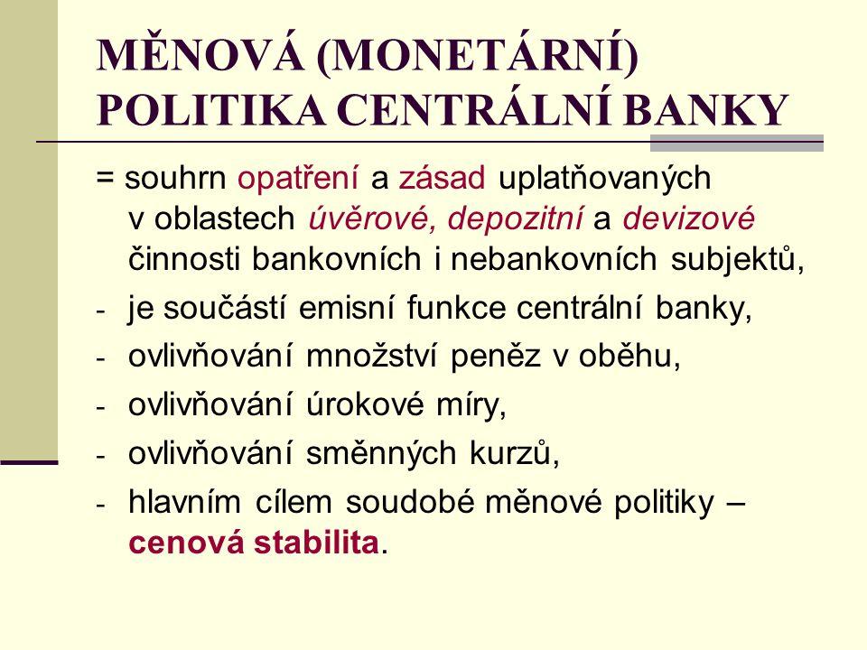 MĚNOVÁ (MONETÁRNÍ) POLITIKA CENTRÁLNÍ BANKY = souhrn opatření a zásad uplatňovaných v oblastech úvěrové, depozitní a devizové činnosti bankovních i ne