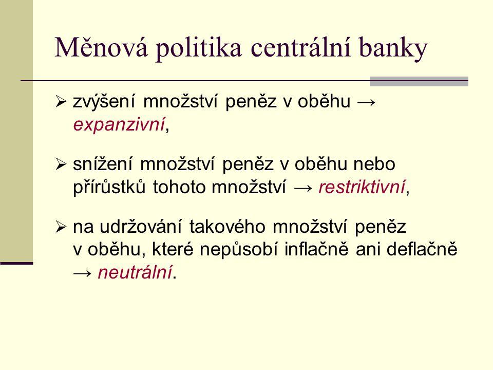 Měnová politika centrální banky  zvýšení množství peněz v oběhu → expanzivní,  snížení množství peněz v oběhu nebo přírůstků tohoto množství → restr