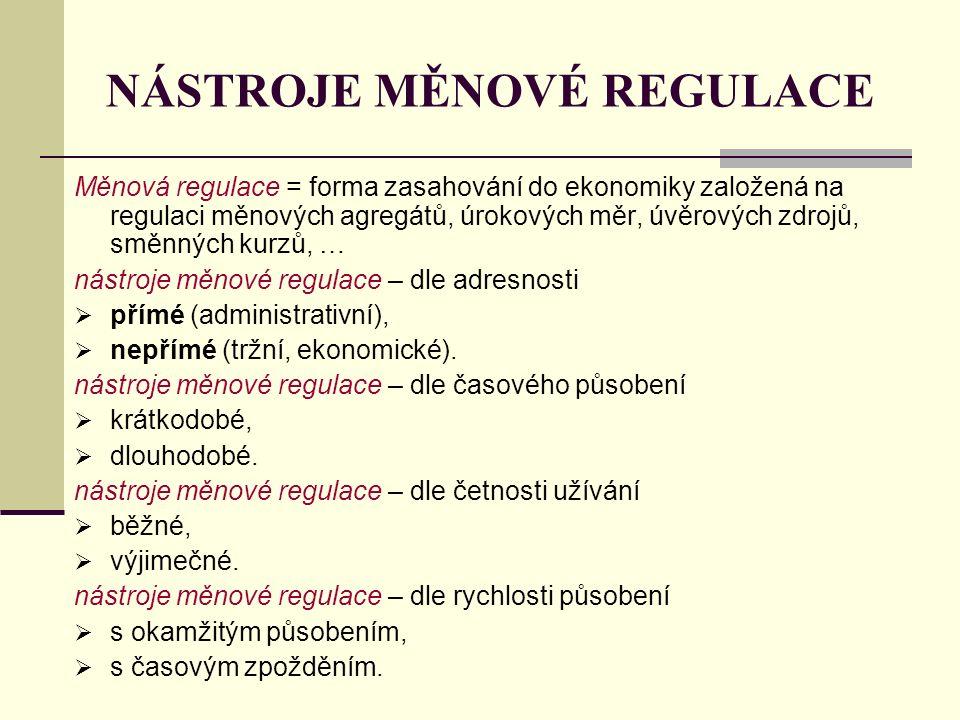 NÁSTROJE MĚNOVÉ REGULACE Měnová regulace = forma zasahování do ekonomiky založená na regulaci měnových agregátů, úrokových měr, úvěrových zdrojů, směn