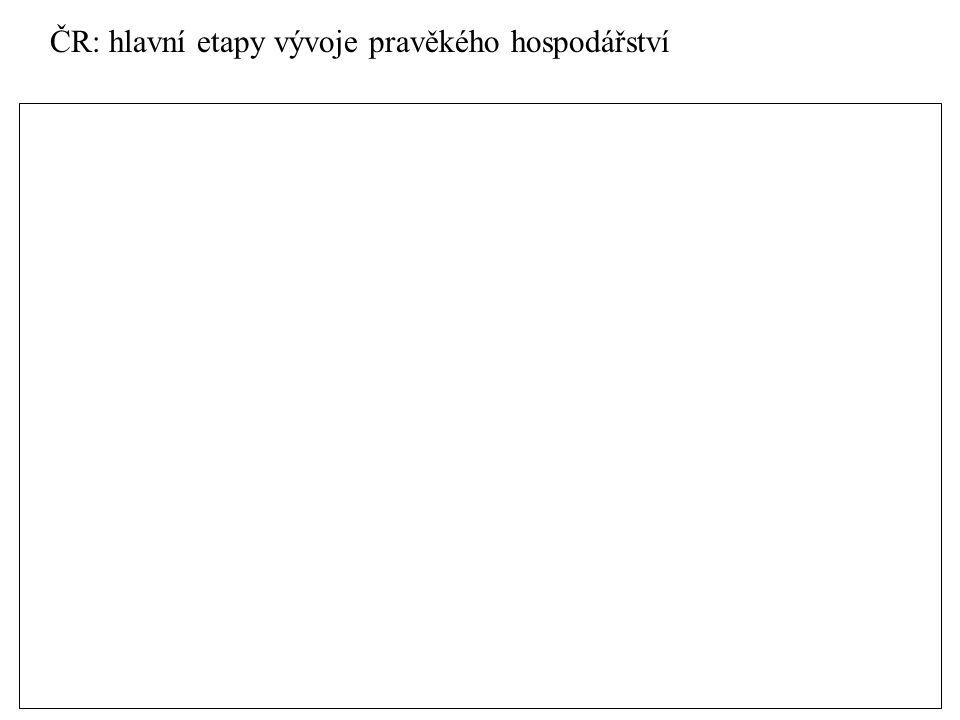ČR: hlavní etapy vývoje pravěkého hospodářství centralizace sídel