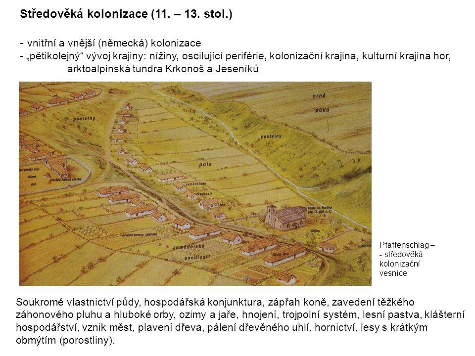 """Středověká kolonizace (11. – 13. stol.) - vnitřní a vnější (německá) kolonizace - """"pětikolejný"""" vývoj krajiny: nížiny, oscilující periférie, kolonizač"""
