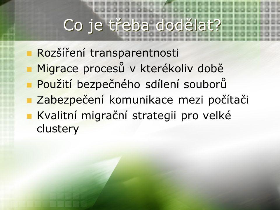 Co je třeba dodělat? Rozšíření transparentnosti Migrace procesů v kterékoliv době Použití bezpečného sdílení souborů Zabezpečení komunikace mezi počít