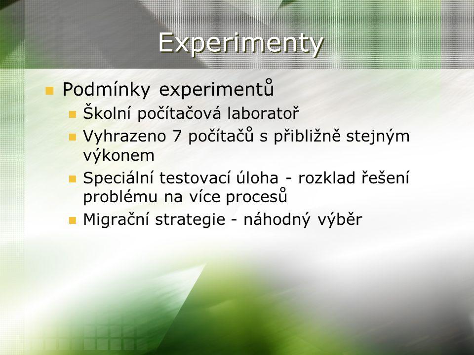 Experimenty Podmínky experimentů Školní počítačová laboratoř Vyhrazeno 7 počítačů s přibližně stejným výkonem Speciální testovací úloha - rozklad řeše