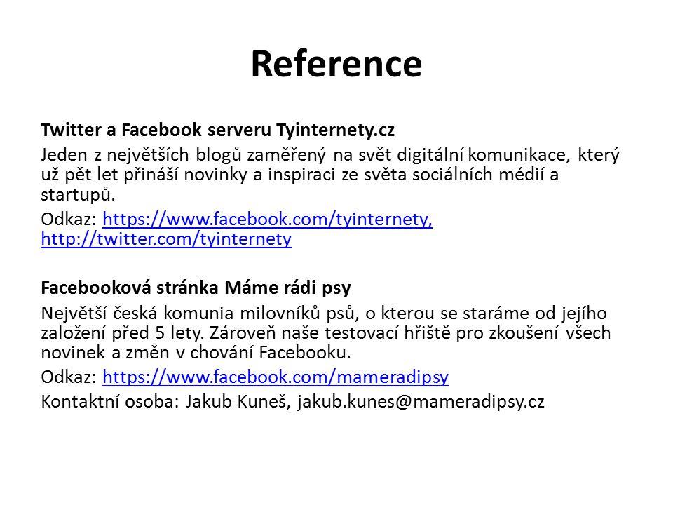 Reference Twitter a Facebook serveru Tyinternety.cz Jeden z největších blogů zaměřený na svět digitální komunikace, který už pět let přináší novinky a inspiraci ze světa sociálních médií a startupů.