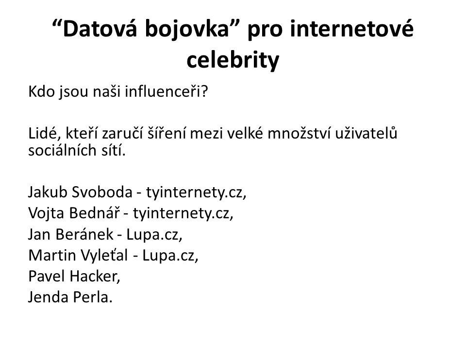 Datová bojovka pro internetové celebrity Kdo jsou naši influenceři.