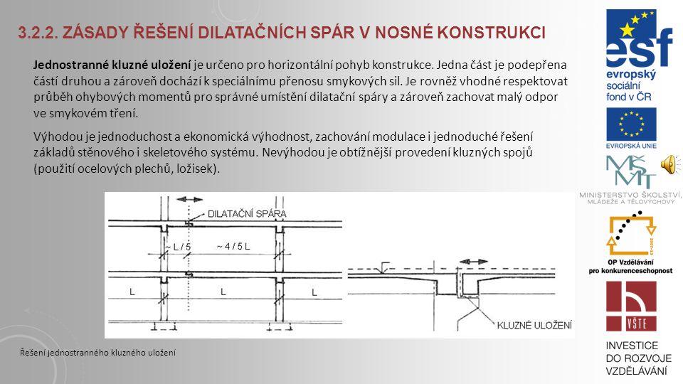 3.2.2. ZÁSADY ŘEŠENÍ DILATAČNÍCH SPÁR V NOSNÉ KONSTRUKCI Zdvojené konstrukce mají dilatační spáru mezi dvěma konstrukcemi. A to buď mezi sloupy a prův