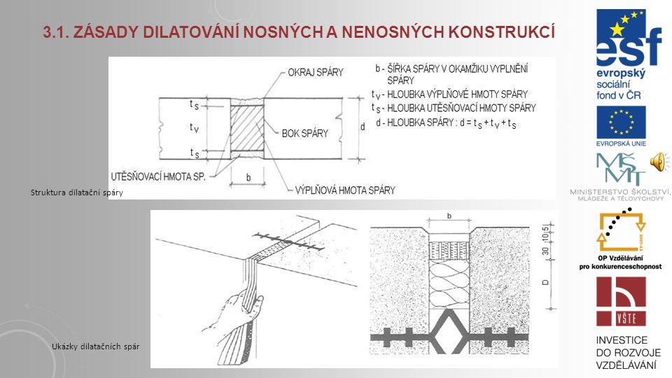 3. DILATACE 3.1. Zásady dilatování nosných a nenosných konstrukcí Nesilové účinky, tj. objemové změny od teploty a vlhkosti, reologické účinky, změna