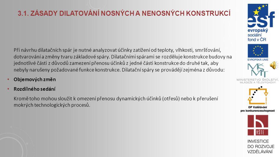 Ukázky dilatačních spár Struktura dilatační spáry 3.1. ZÁSADY DILATOVÁNÍ NOSNÝCH A NENOSNÝCH KONSTRUKCÍ