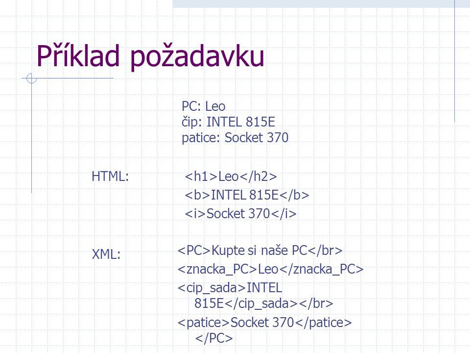 Předpoklady sémantického webu syntaktická struktura dokumenty v XML sémantická struktura RDF – Resource Description Framework  objekt – atribut – hodnota např.