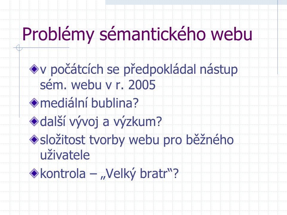 Problémy sémantického webu v počátcích se předpokládal nástup sém. webu v r. 2005 mediální bublina? další vývoj a výzkum? složitost tvorby webu pro bě