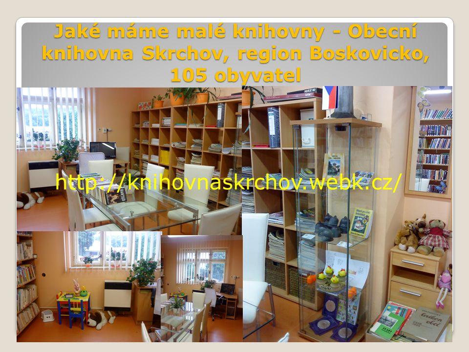 Jaké máme malé knihovny - Obecní knihovna Skrchov, region Boskovicko, 105 obyvatel http://knihovnaskrchov.webk.cz/