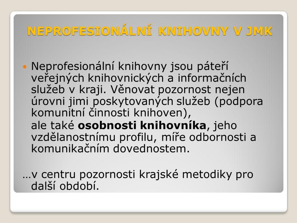 NEPROFESIONÁLNÍ KNIHOVNY V JMK Neprofesionální knihovny jsou páteří veřejných knihovnických a informačních služeb v kraji.