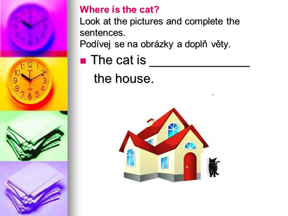Where is the cat.Look at the pictures and complete the sentences.