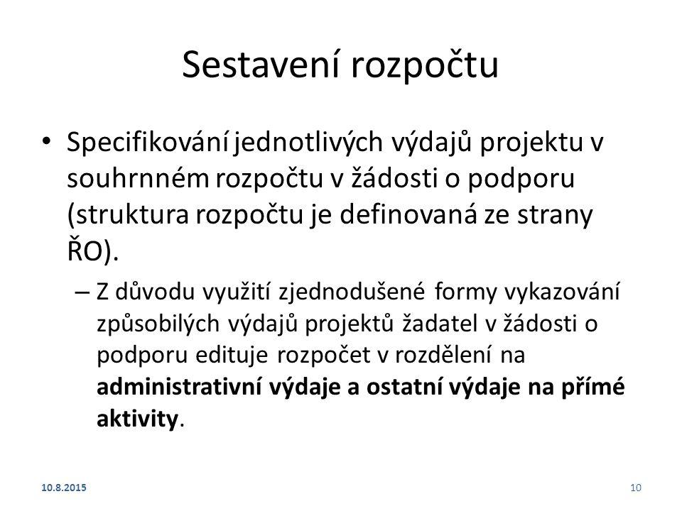 Sestavení rozpočtu Specifikování jednotlivých výdajů projektu v souhrnném rozpočtu v žádosti o podporu (struktura rozpočtu je definovaná ze strany ŘO)