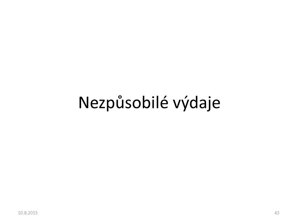 Nezpůsobilé výdaje 10.8.201543