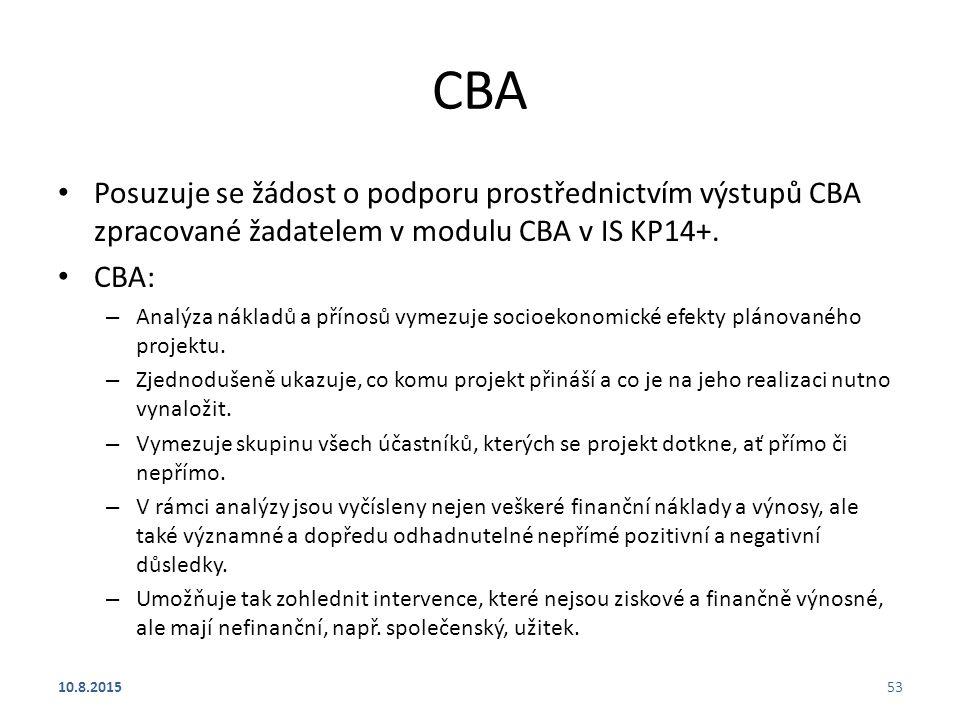 CBA Posuzuje se žádost o podporu prostřednictvím výstupů CBA zpracované žadatelem v modulu CBA v IS KP14+. CBA: – Analýza nákladů a přínosů vymezuje s