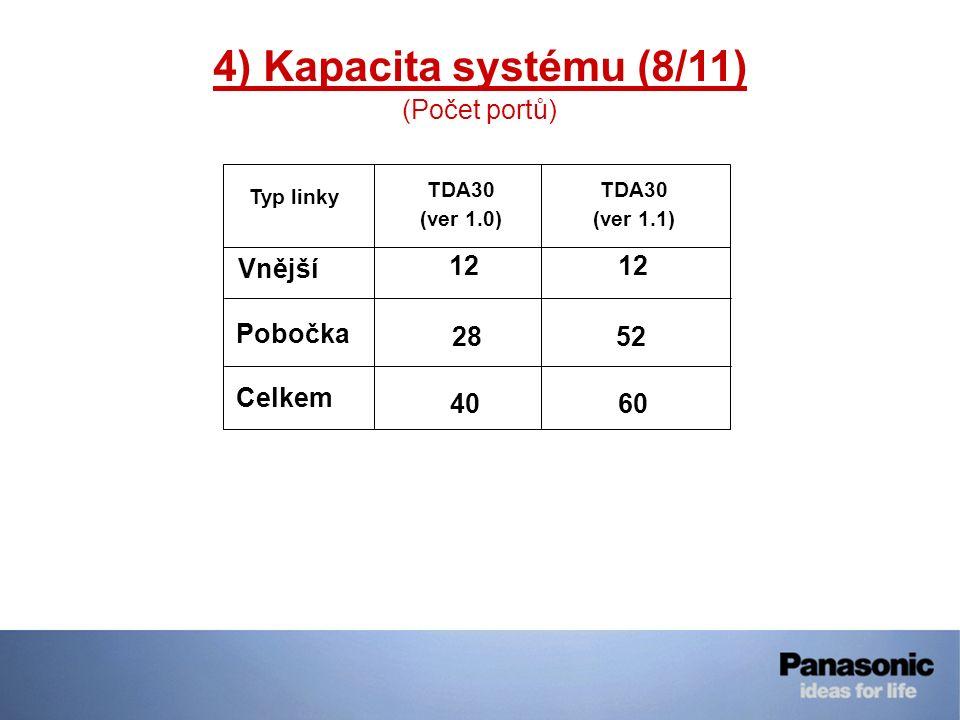 4) Kapacita systému (8/11) (Počet portů) Typ linky TDA30 (ver 1.0) Vnější 12 Pobočka 2852 Celkem 4060 TDA30 (ver 1.1)