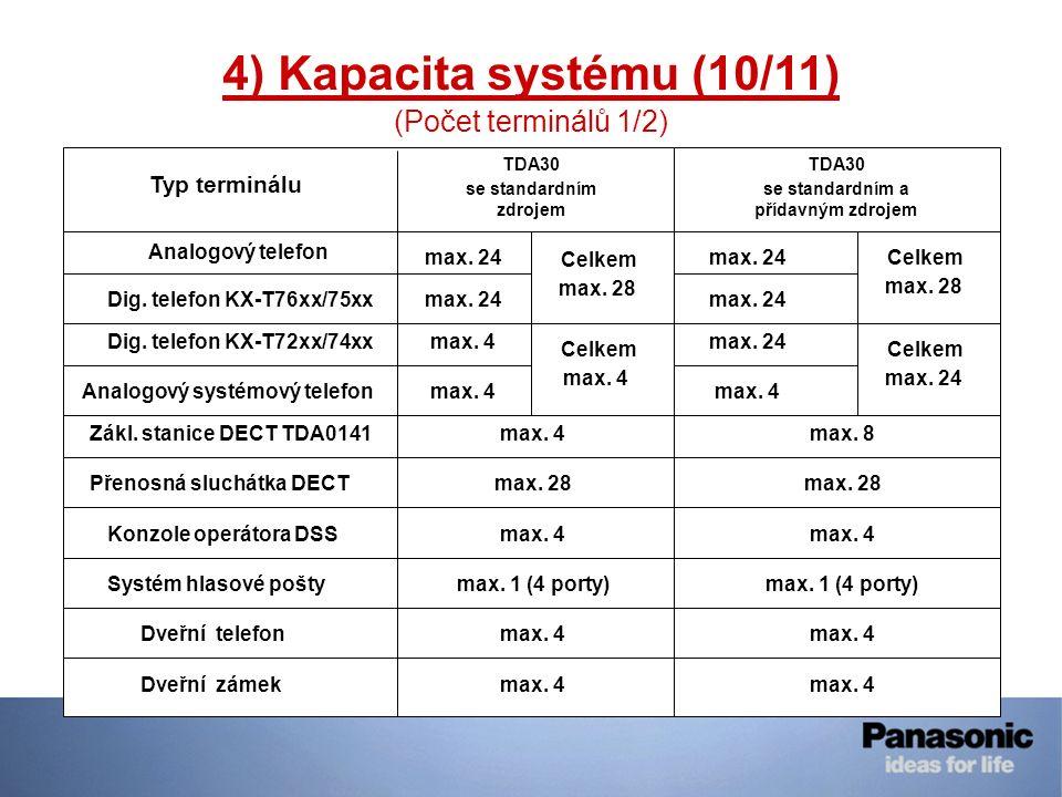 4) Kapacita systému (10/11) (Počet terminálů 1/2) Analogový telefon max. 24 Dveřní telefon Typ terminálu TDA30 se standardním zdrojem TDA30 se standar