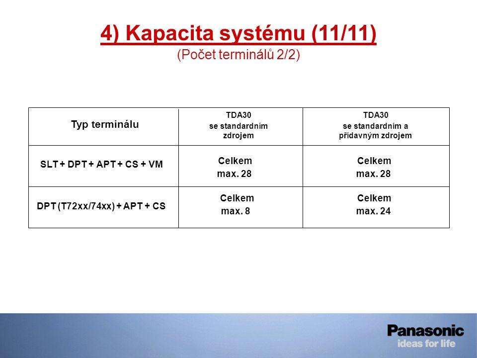 4) Kapacita systému (11/11) (Počet terminálů 2/2) Typ terminálu TDA30 se standardním zdrojem TDA30 se standardním a přídavným zdrojem SLT + DPT + APT