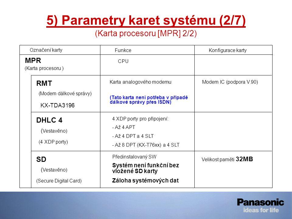 5) Parametry karet systému (2/7) (Karta procesoru [MPR] 2/2) Označení kartyFunkceKonfigurace karty (Karta procesoru ) MPR (Modem dálkové správy) RMT (