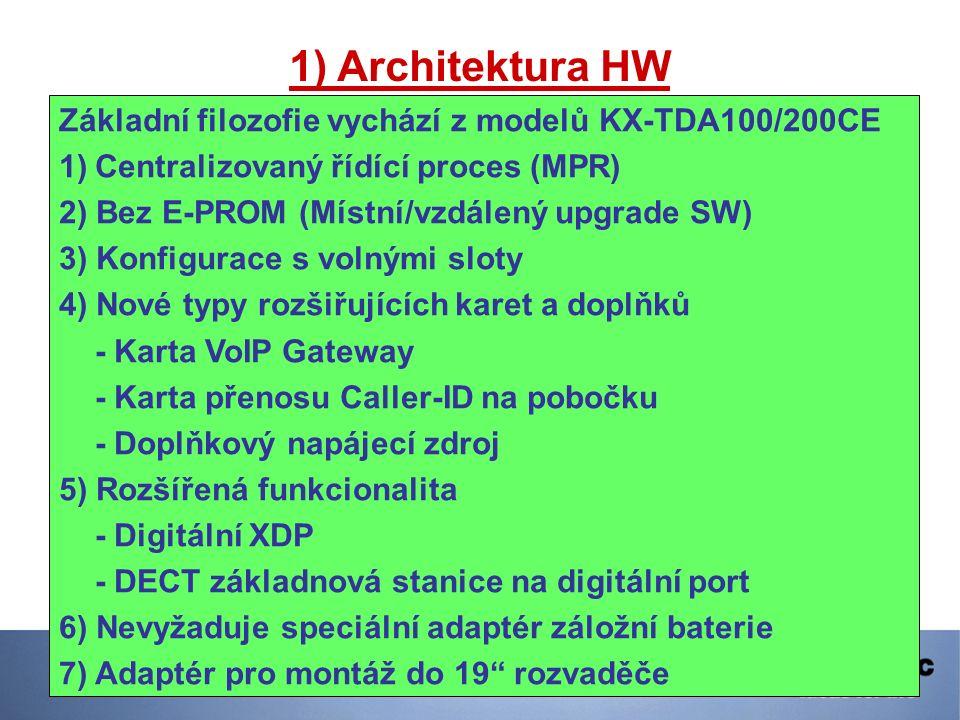 1) Architektura HW Základní filozofie vychází z modelů KX-TDA100/200CE 1)Centralizovaný řídící proces (MPR) 2) Bez E-PROM (Místní/vzdálený upgrade SW)