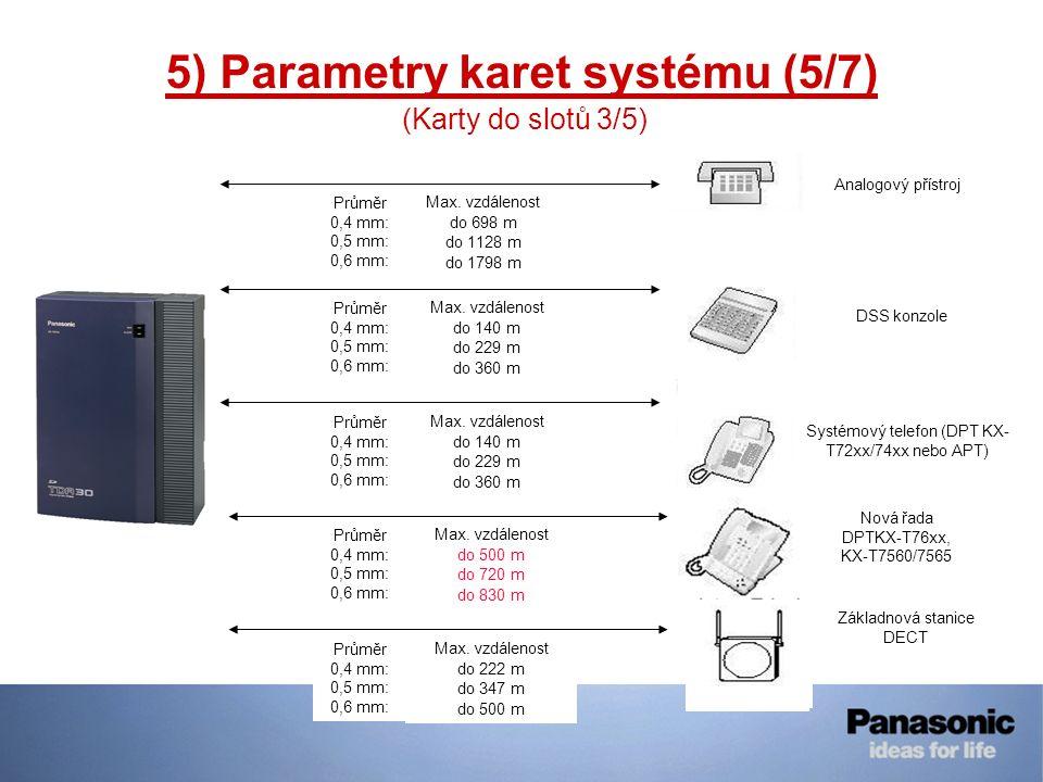 5) Parametry karet systému (5/7) (Karty do slotů 3/5) 140m 229m 360m Nová řada DPTKX-T76xx, KX-T7560/7565 Průměr 0,4 mm: 0,5 mm: 0,6 mm: Max. vzdáleno