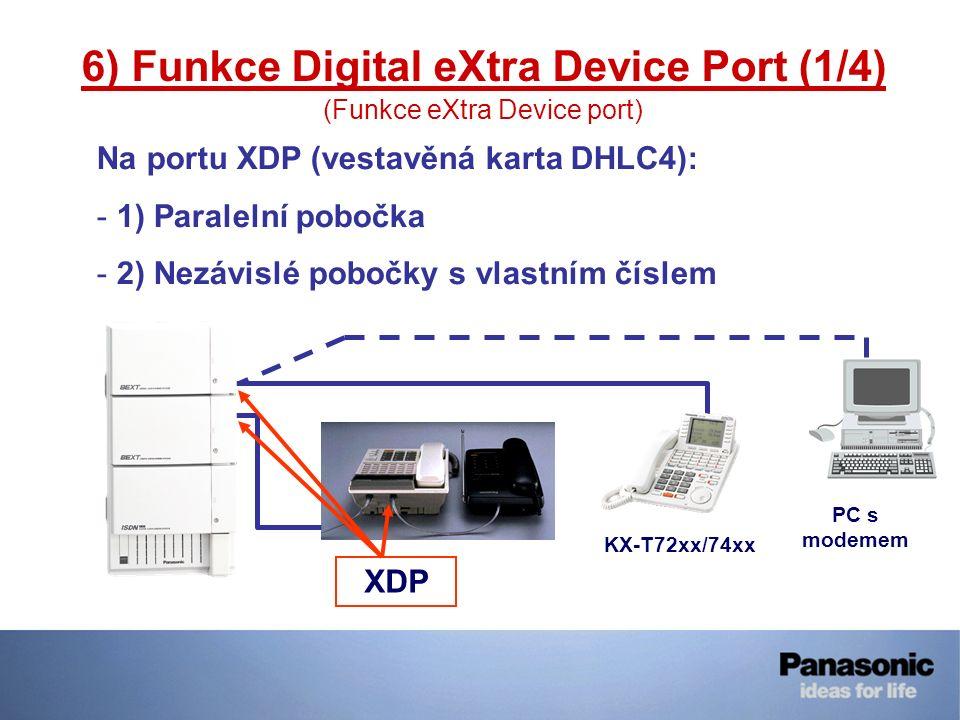 6) Funkce Digital eXtra Device Port (1/4) (Funkce eXtra Device port) Na portu XDP (vestavěná karta DHLC4): - 1) Paralelní pobočka - 2) Nezávislé poboč