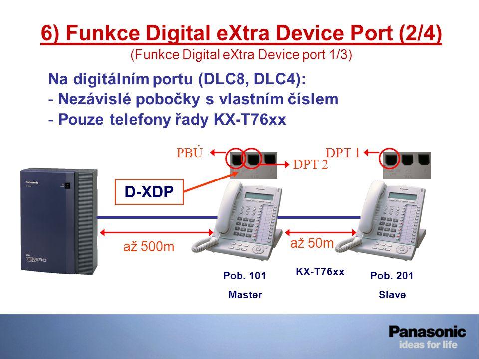 6) Funkce Digital eXtra Device Port (2/4) (Funkce Digital eXtra Device port 1/3) Na digitálním portu (DLC8, DLC4): - Nezávislé pobočky s vlastním čísl