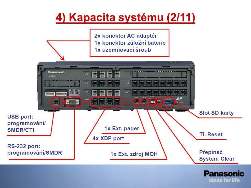 4) Kapacita systému (2/11) USB port: programování/ SMDR/CTI RS-232 port: programování/SMDR 4x XDP port 1x Ext. pager 1x Ext. zdroj MOH Přepínač System