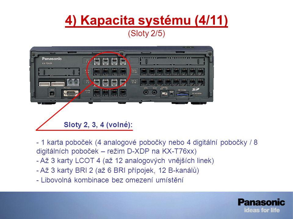 4) Kapacita systému (4/11) (Sloty 2/5) Sloty 2, 3, 4 (volné): - 1 karta poboček (4 analogové pobočky nebo 4 digitální pobočky / 8 digitálních poboček