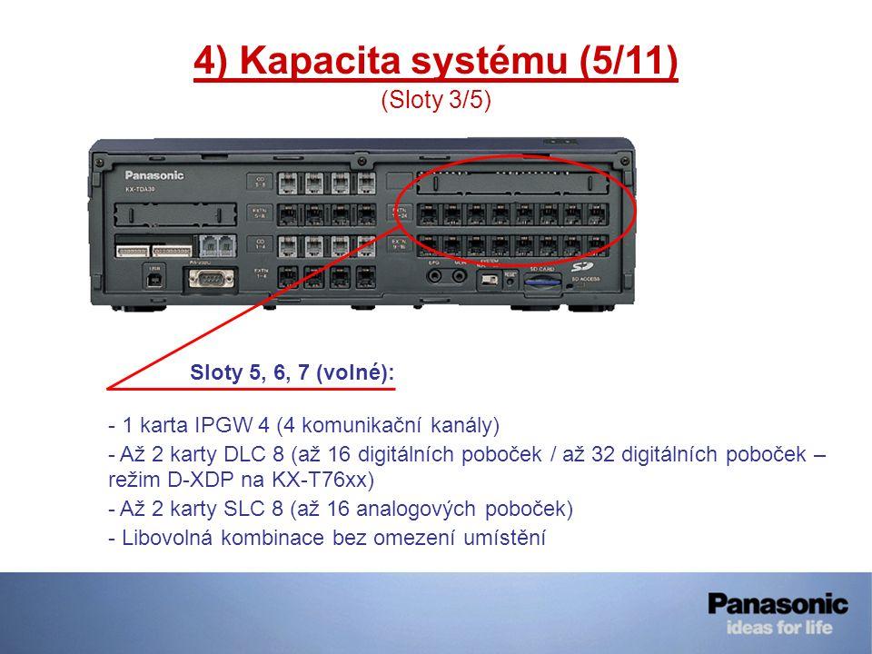 4) Kapacita systému (5/11) (Sloty 3/5) Sloty 5, 6, 7 (volné): - 1 karta IPGW 4 (4 komunikační kanály) - Až 2 karty DLC 8 (až 16 digitálních poboček /