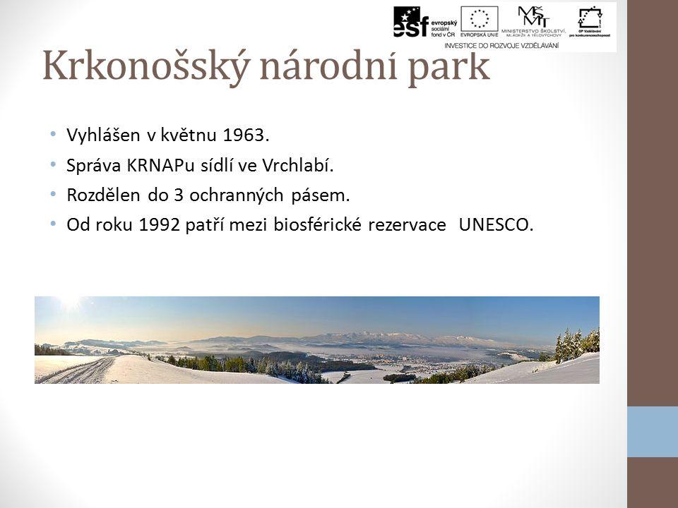 Krkonošský národní park Vyhlášen v květnu 1963.Správa KRNAPu sídlí ve Vrchlabí.